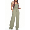 Novelty Womens Jumpsuit Solid Color Drawstring-Waist off Shoulder Slim Fitted Sleeveless Strapless Wide Leg Jumpsuit