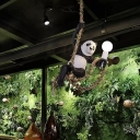 Black and White Panda Pendant Light Fixture Artistic 1 Head Resin Ceiling Hang Lamp with Hemp Rope