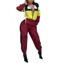 Sporty Women's Co-ords Color Block Contrast Panel Banded Cuffs Zipper Placket Long-sleeved with Stripe Pattern Ankle-Tied Elastic Waist Pants Set