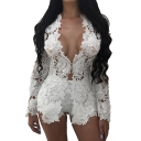 Basic Womens Co-ords Floral Crochet Lace Long Sleeve Open Front Tee Slim Fitted Shorts Co-ords