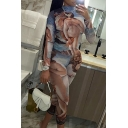 Womens Jumpsuit Fashionable Figure Tree Seagull Pattern Mention Hip Long Sleeve Mock Neck Slim Fitted Sport Jumpsuit