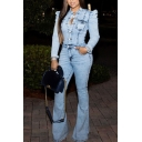 Vintage Womens Denim Jumpsuit Medium Wash Turn down Collar Slim Fitted Long Puff Sleeve Bootcut Jumpsuit