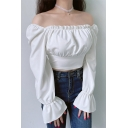 Sexy Simple Plain Square Neck Sheer Cropped Blouse