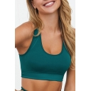 Casual Women's Cami Top Solid Color Banded Hem Scoop Neck Sleeveless Slim Fitted Cropped Tank Top