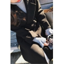 Unique Women's Woolen Coat Solid Color Pocket Design Asymmetrical Cuffs Notched Collar Long Sleeves Regular Fitted Woolen Coat with Belt