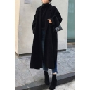 Fashionable Women's Woolen Coat Plain Pockets Side Slits Notched Collar Open Front Long Sleeves Relaxed Fit Woolen Coat with Belt