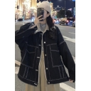 Elegant Women's Denim Jacket Contrast Stitching Button-down Faux Fur Spread Collar Long Sleeves Relaxed Fitted Denim Jacket