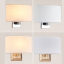 Fabric Ellipse Wall Light Fixture Modern Single-Bulb Chrome/Gold Wall Mounted Lamp for Bedroom