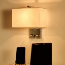 Rectangular Wall Lamp Modernism Fabric 1 Head Living Room Wall Light Kit with Dual USB Port in Black/White/Beige