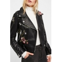 Cool Embroidery Floral Skull Print Beading Zipper Embellished Long Sleeve Black Crop Belted Biker Jacket