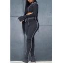Womens Co-ords Trendy Contrast Flatlock Seam Asymmetric Hem Long Sleeve One Shoulder Tee Slim Fitted Pants Sport Co-ords