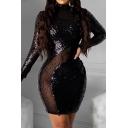 Elegant Women's Bodycon Dress Glitter Sequins Detail Contrast Panel Mock Neck Long Sleeves Slim Fitted Short Bodycon Dress