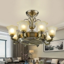 3-Blade 6/8 Heads Floral Hanging Fan Light Traditional Light-Gold Opal Frosted Glass Semi Flush Chandelier, 34