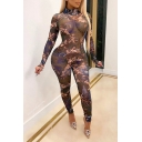 Novelty Womens Jumpsuit Character Pattern See-Through Mesh Invisible Zipper Mock Neck Skinny Fitted Long Sleeve Jumpsuit