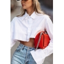 Leisure Women's Blouse Solid Color Button-down Turn-down Collar Long Sleeves Regular Fitted Cropped Blouse Shirt