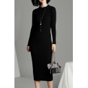 Stylish Women's Sweater Dress Ribbed Knit Solid Color Crew Neck Long Sleeves Slim Fitted Sweater Dress