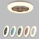 Minimalist Circular Flush Ceiling Fan Light Acrylic Bedroom 5 Blades LED Semi Mount Lighting in Coffee/Pink/Blue, 22