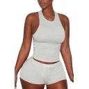 Fancy Women's Co-ords Solid Color Round Neck Sleeveless Slim Fitted Tank Top with Drawstring Waist Shorts Set