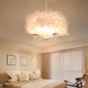 Feather Candlestick Pendant Chandelier Modern Style 3/5 Lights Hanging Light Fixture with Round Shade in White/Chrome