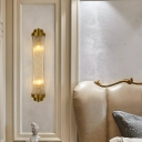 Clear Ribbed Glass Tube Sconce Light Postmodern 1-Light Gold Wall Light Kit for Living Room