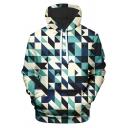 Popular Mens 3D Geometric Pattern Pocket Drawstring Long Sleeve Regular Fitted Hooded Sweatshirt
