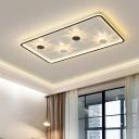 Round/Square/Rectangle Ultrathin Flush Light Minimal Acrylic Bedroom Surface Mounted LED Ceiling Lamp in Black, Warm/White Light