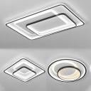 Black Round/Square/Rectangle Flush Light Modernist LED Acrylic Ceiling Mount Lamp in Warm/White Light for Hotel