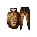 Basic Mens 3D Co-ords Lion Head Cat Pattern Slim Fitted 7/8 Length Tapered Pants Long Sleeve Hoodie Jogger Co-ords