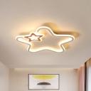 Star Shaped Acrylic Flush Light Modern Black/Pink/Blue LED Ceiling Mount Lamp in Warm/White Light for Kids Room