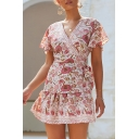 Tribal Style Women's A-Line Dress All over Floral Printed Contrast Stitch Short Butterfly Sleeve V Neck Waist Tied Regular Fitted Short A-Line Dress