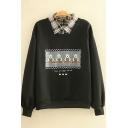Novelty Womens Sweatshirt Bear Heart Letter Pattern False Two Pieces Turn-down Collar Loose Fit Long Sleeve Pullover Sweatshirt