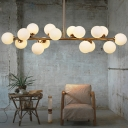 Linear Ceiling Hanging Light Postmodern Cream Bubble Glass 16 Heads Living Room Island Lamp in Gold