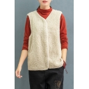Winter Warm Women's Vest Wool Solid Color Side Pockets Open Front Sleeveless Loose Fitted Vest