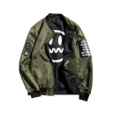 Simple Letter Patched Fashion Smile Face Print Stand-Collar Double-Faced Reversible Bomber Jacket for Men