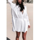 Basic Womens Shirt Jacket Plain Chest Pocket Button Detail Long Sleeve Turn-down Collar Loose Fitted Cover-up Beach Jacket