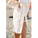 Womens Shirt Trendy Solid Color High-Low Split Hem Long Sleeve V Neck Regular Fitted Tee Top Sun-Protection Jacket
