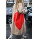 Creative Womens Coat Heart Pattern Drop Shoulder Loose Fit Long Sleeve Longer Length Woolen Coat