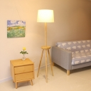 Tripod Wooden Floor Light Nordic 1 Head Beige Stand Up Lamp with Table and Drum Fabric Shade