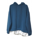 Retro Womens Hoodie Contrast Patchwork Hem Thick Faux Twinset Drop Shoulder Drawstring Long Sleeve Relaxed Fitted Hooded Sweatshirt