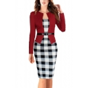Creative Womens Dress Contrast Checkered Print Faux Twinset Knee-Length Slim Fitted Long Sleeve Bodycon Dress with Belt