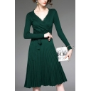Classic Womens Dress Solid Color Knitted Tie-Waist Lace V Neck Long Sleeve Slim Fitted Knee Length Pleated Dress