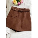 Womens Skorts Stylish Solid Color Woolen A-Line Invisible Zipper Back Pocket Flap Design High Rise Regular Fitted Wide Leg Relaxed Shorts