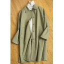 Basic Coat Solid Color Button-down Pockets Turn-down Collar Long-sleeved Regular Fitted Trench Coat for Women