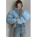 Thick Warm Women's Down Coat Quilted Solid Color Banded Drawstring Cuffs Stand Collar Zip Closure Long Sleeves Relaxed Fit Down Coat