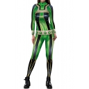 Womens 3D Jumpsuit Fashionable Contrast Spider Cobweb Pattern Anime My Hero Academia Long Sleeve Mock Neck Slim Fitted Jumpsuit