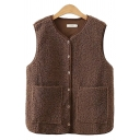Classic Women's Vest Plushed Solid Color Front Pockets Button-down Sleeveless Relaxed Fit Vest