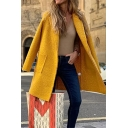 Womens Simple Yellow Plain Single Button Long Sleeve Outerwear Wool Coat with Pocket