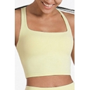Cool Womens Sport Cami Top Solid Color Chest Pad Shake-Proof Quick Dry Cross Beauty-Back Slim Fitted Cropped Sleeveless Square Neck Tank Top