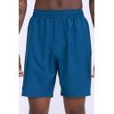 Mens Fitness Shorts Creative Plain Quick Dry Ventilation Slim Fitted Elastic Waist Knee-Length Sport Shorts