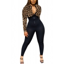 Womens Jumpsuit Fashionable Leopard Skin Print Contrast Zipper Front Rib Knitted Long Sleeve Mock Neck Skinny Fitted Jumpsuit